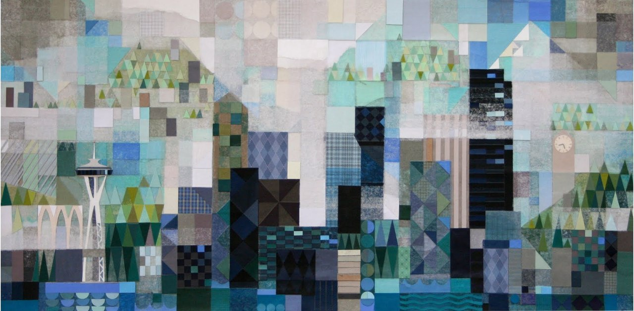 Benjamin Butcher - Seattle skyline | Paper collage | 2011 Created for a Mary Blair Centennial show currently touring Japan via Blips and Ifs