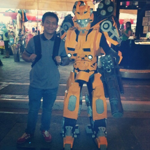 Of course he wants a photo with #Bumblebee. #transformers #manchild  (Taken with Instagram)