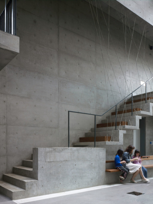 enochliew:  Taichung Church by AMBi studio A stair detail that combines minimal and complex aesthetics.