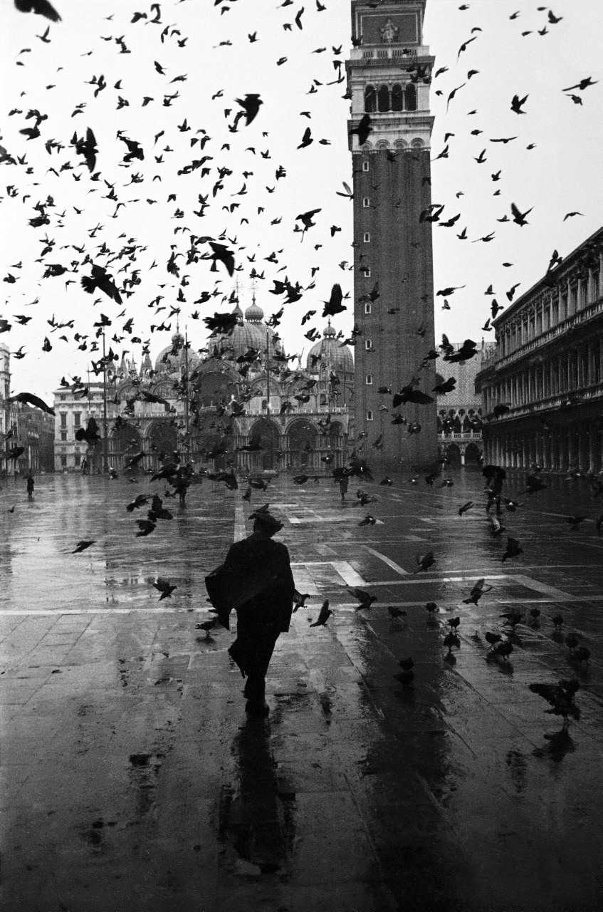 piazza san marco with st. mark's basilica in the background, venice, italy, 1952