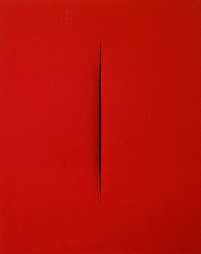 ivotemelkov:  Lucio Fontana - Concretto spaziale, Attesa, 1965 waterpaint on canvas and lacquered wood Price realized: £6,740,500 @ Christie's