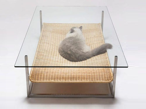 Japanese design firm Case-Real created this cat hammock/coffee table that places the creature centre stage. We love the seamless integration of design for pets with design for humans.