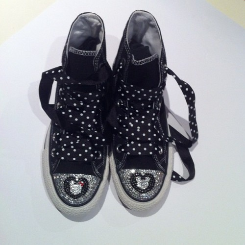 Swarovski Mickey and Minnie mouse on converse shoes by Mydiamonte www.diamonte.com.au #swarovski #fashion #shoes #black#converse#mickey and Minnie mouse  (Taken with Instagram)