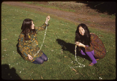 Making daisy chains in Golden Gate Park, San Francisco, May 1967.