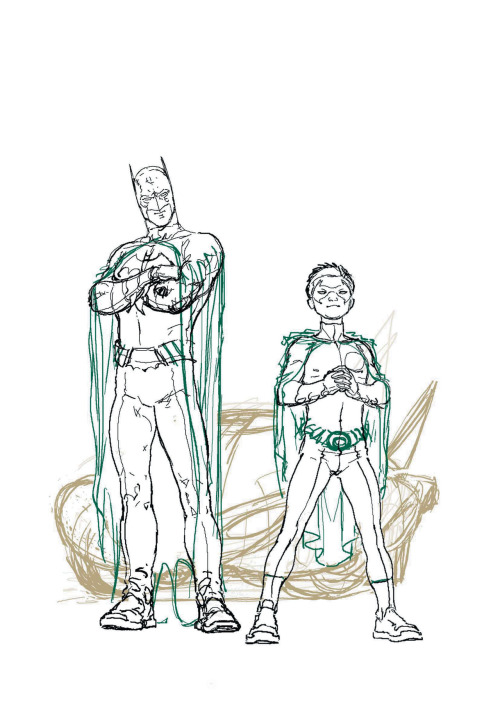 "Frank Quitely Batman and Robin Issue #1 - Rough Cover brcover1roughThe image had to be simple and iconic - the modern equivalent of Batman holding up the ringmaster's hoop on the cover of DETECTIVE COMICS #38 which introduced Robin as ""The sensational character find of 1940!"" - and, as this original sketch shows, the cover idea didn't change much from conception to publication.http://www.dccomics.com/blog/2010/04/07/batman-redrawn-part-1-with-grant-morrison-and-frank-quitely"