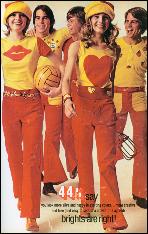 Brights Are Right! 1971 teen fashions.