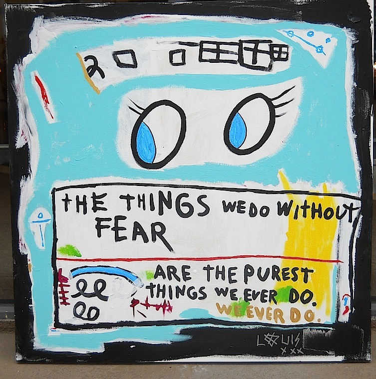 "LOUIS XXX powderfrench:  ""The Things We Do Without Fear Are The Purest Things We Ever Do"" 36""x36"" Acrylic on Canvas Click below for more details:https://shop.labartgallery.com/shop/the-fear-louis-xxx/ LAB ART Los Angeles 217 S. La Brea Avenue, Los Angeles, CA 90036 T: +1.323.933.1021 F: +1.323.933.2537 C: +1.310.993.1176"