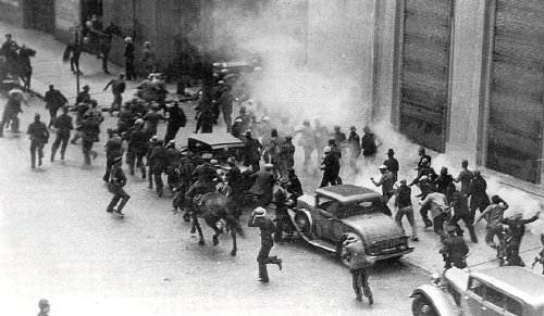 "Today in #LaborHistory: July 5 -via- unionist.comBattle of Rincon Hill, San Francisco, in longshore strike. 5,000 strikers fought 1,000 police, scabs and national guardsmen. Two strikers were killed, 109 people injured. The incident, forever known as ""Bloody Thursday,"" led to a General Strike - 1934""It's a celebration of the working conditions and benefits that we enjoy because of that hard fought victory and all of the many other battles along the way that the labor movement has endured to get us where we are today."" - from http://www.ilwu.org/?p=1759""The year 1934 marked a turning point for the working-class struggle during the Great Depression, with three strikes in three cities—Toledo, San Francisco and Minneapolis—that showed workers could fight back and win."" - from http://socialistworker.org/2009/09/21/battle-for-the-docks""The employers were determined to break the strike; they brought in strikebreakers, and on July 5, with the help of City Hall and the police, they decided to open the port."" - fromhttp://www.sfgate.com/news/article/Anniversary-of-a-dark-day-3293265.php""Two men were killed by bullets, another by injuries, 31 others were shot and an untold number, including police, were clubbed, gassed, beaten and stoned."" - from http://www.sfmuseum.org/hist4/maritime17.htmlIn honor and tribute to ALL of the Sisters & Brothers of the ILWU Coast Longshore Division … with a special nod to Grant & friends at Local 4 in Vancouver!Never forget whose shoulders we STAND on!"
