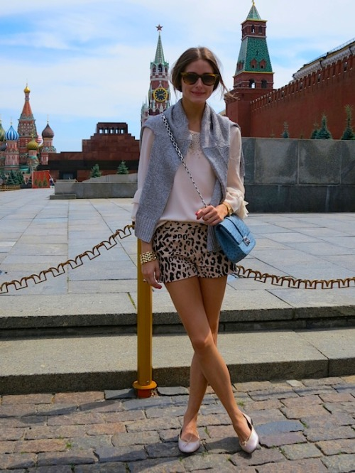 BeLighter Olivia Palermo, Moscow Wearing: Blouse, Shorts: Tibi; Shoes: French Sole; Bag: Dior