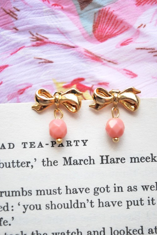 Coral Pink Stud Earrings