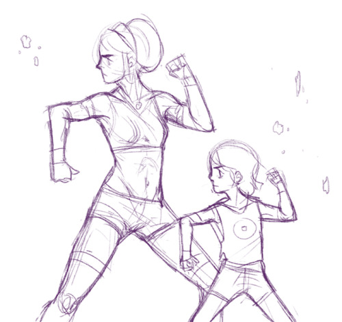 uglybananas:  Here, have a sketch of Toph teaching Lin how to be a badass. I was too lazy to finish it.