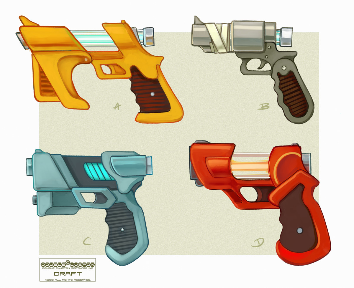 Who's got guns? WE'VE GOT GUNS. Candy-colored, semi-nonfunctional-but-somehow-they'll-still-work GUNS! (Translation:  Have some more concept art from Emerald Kingdom.  It's magically delicious!)