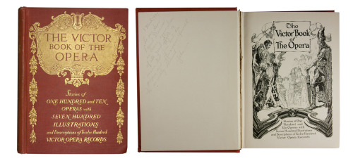 "book-aesthete:  I collect and document books with hand-written inscriptions, and this is one of my favorites. Inscription reads: ""To my dear friend Dennis, In loving appreciation of all your efforts to insure [sic] that Jim had the proper and efficacious funeral he so richly deserved. John"" The Victor Book of the OperaVictor Opera Records1915  (Many more at my blog!) Beautiful! Thank you, togetherasalways."