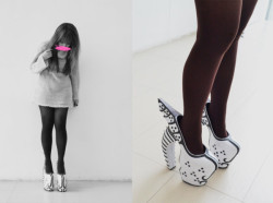 Fashion Design student, Meokki, wears the Valkryie Pumps: Snow Moth :)