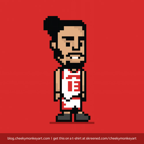 8-Bit Joakim Noah | Purchase this on a t-shirt, or as a digital print.