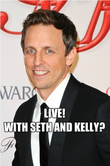 SNL star and lead writer Seth Meyers is rumored to be in the lead to replace Regis Philbin and to sit next to Kelly Ripa full-time. Seth will co-host as a guest host next week starting Monday.