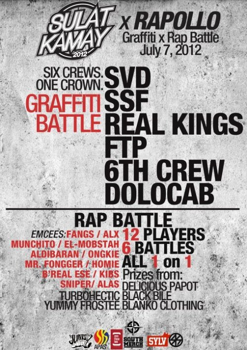 Sulat Kamay Visayas Leg 2012! It's happening tomorrow!  There's graffiti, rap battles, and good fun! Skaters are welcome to join. poster by Marc Abuan of the Streetkonect Team