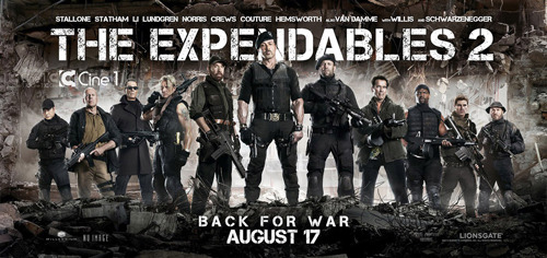 The Expendables 2 gets a cool new poster The Expendables 2 has released an awesome new banner poster, in which the film's collection of grizzled warhorses appear together in one profoundly kick-ass lineup…