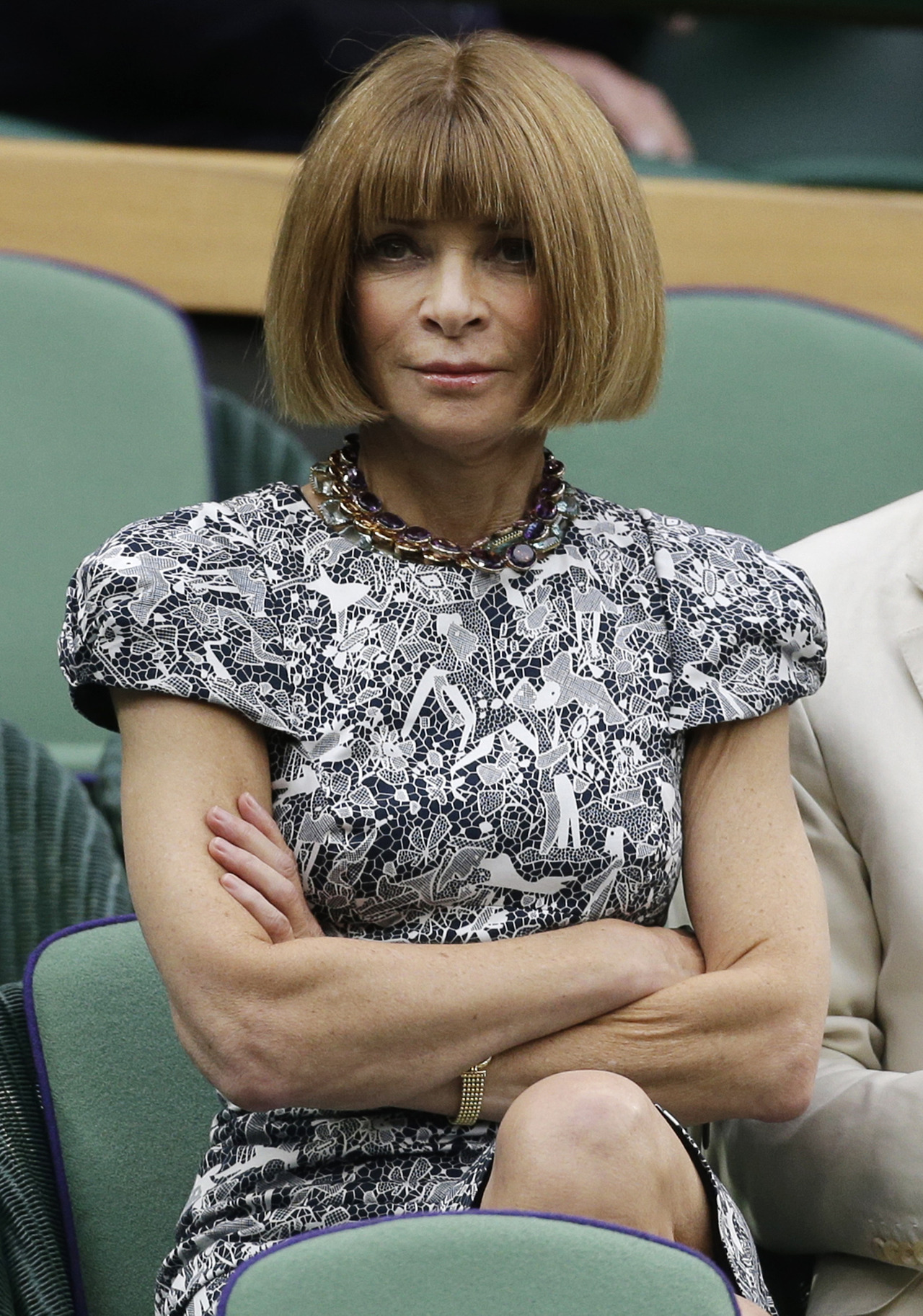 Vogue editor Anna Wintour today at Wimbledon before the Djokovic-Federer match. (AP Photo/Anja Niedringhaus)