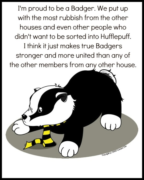 """I'm proud to be a Badger. We put up with the most rubbish from the other houses and even other people who didn't want to be sorted into Hufflepuff. I think it just makes true Badgers stronger and more united than any of the other members from any of the other houses."" Submitted by anonymous"