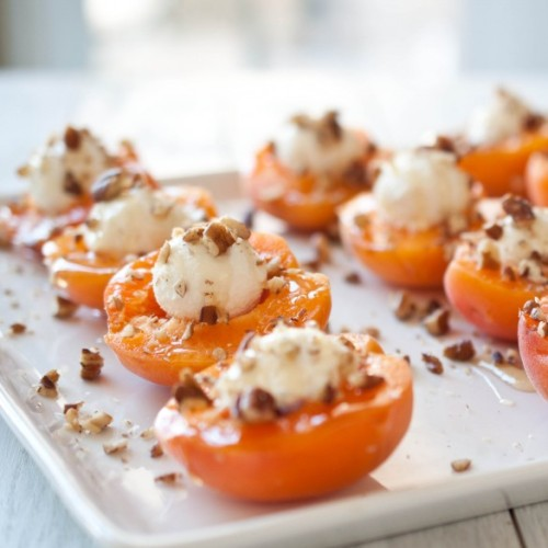 gastrogirl:  goat cheese stuffed apricots with honey.  What I overwhelmingly miss about France: the apricots.