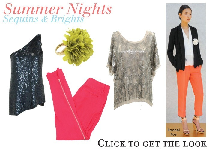 Shop Summer Nights: Sequins & Brights at shopedropoff.com: 1. 3.1 Philip Lim Dark Blue Sequin Silk One Shoulder Top2. Kate Spade New York Date Night Lime Green Flower Ring3. 3.1 Philip Lim Hot Pink Side Zip Trouser Pants4. Gold Hawk Taupe Silk & Sequin Top