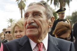 think-progress:  This is 96-year-old Raúl Héctor Castro — a former Arizona Governor and a U.S. citizen — who was detained by border patrol in 100 degree heat.What makes this worse? Guess how many times he's been detained.