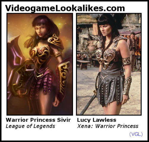 Warrior Princess Sivir (League of Legends) looks like Lucy Lawless (Xena: Warrior Princess) I know, I know — it's intentional. But that doesn't mean they don't look alike! Yeeeeehaw! *cowboy dance, fires finger-guns in the air*