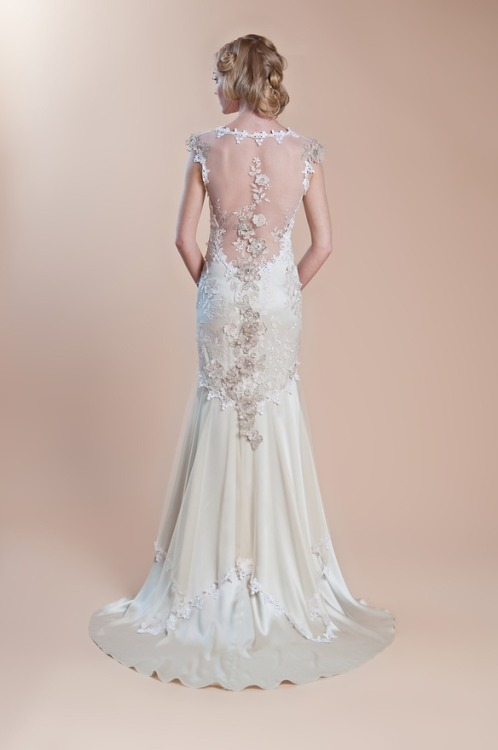 "Lovely silk gown with sheer back framed in lace. Claire Pettibone F2012 collection, style ""Viola"". Read full post here."