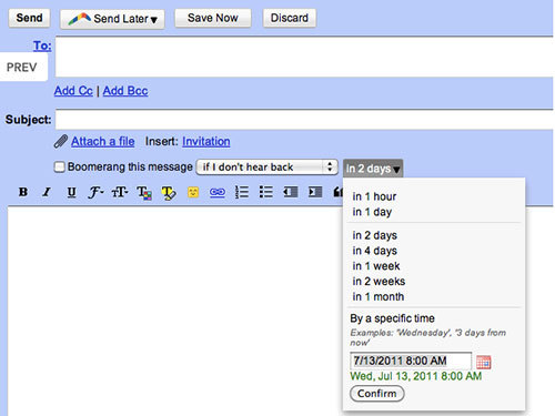 A new Gmail plugin called Boomerang can help you de-clutter your inbox and remember to follow up on important emails.