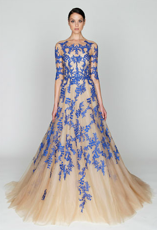 Monique Lhuillier RTW Pre-Fall 2012, nude and blue tulle gown. Read full post here.