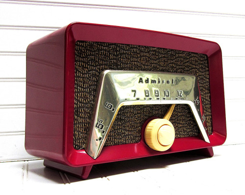 midcenturymodernfreak:  - 1959 RCA Victor Dual Speaker Filteramic Tube Radio- Pink General Electric AM Clock Radio- Red Admiral Model 6C23 AM Radio- 1960s Olive Green Panasonic Solid State RadioSource: flickr.com/photos/roadsidepictures | etsy.com/shop/GoodBonesVintageCo | etsy.com/shop/themoderneclectic