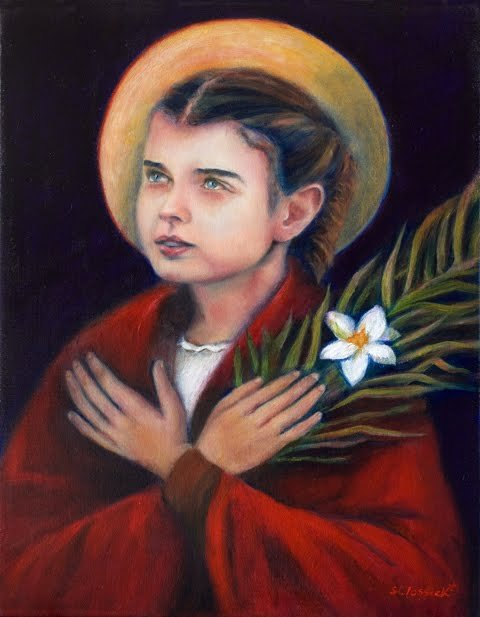 "Saint of the Day (St. Maria Goretti) One of the largest crowds ever assembled for a canonization—250,000—symbolized the reaction of millions touched by the simple story of Maria Goretti. She was the daughter of a poor Italian tenant farmer, had no chance to go to school, never learned to read or write. When she made her First Communion not long before her death at age 12, she was one of the larger and somewhat backward members of the class. On a hot afternoon in July, Maria was sitting at the top of the stairs of her house, mending a shirt. She was not quite 12 years old, but physically mature. A cart stopped outside, and a neighbor, Alessandro, 18 years old, ran up the stairs. He seized her and pulled her into a bedroom. She struggled and tried to call for help. ""No, God does not wish it,"" she cried out. ""It is a sin. You would go to hell for it."" Alessandro began striking at her blindly with a long dagger. She was taken to a hospital. Her last hours were marked by the usual simple compassion of the good—concern about where her mother would sleep, forgiveness of her murderer (she had been in fear of him, but did not say anything lest she cause trouble to his family) and her devout welcoming of Viaticum, her last Holy Communion. She died about 24 hours after the attack. Her murderer was sentenced to 30 years in prison. For a long time he was unrepentant and surly. One night he had a dream or vision of Maria, gathering flowers and offering them to him. His life changed. When he was released after 27 years, his first act was to go to beg the forgiveness of Maria's mother. Devotion to the young martyr grew, miracles were worked, and in less than half a century she was canonized. At her beatification in 1947, her mother (then 82), two sisters and a brother appeared with Pope Pius XII on the balcony of St. Peter's. Three years later, at her canonization, a 66-year-old Alessandro Serenelli knelt among the quarter-million people and cried tears of joy."