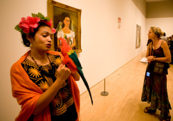 "Today marks the 105th birthday of Frida Kahlo! Known for her fantastical imagery and folkloric style, Kahlo earned recognition among the Surrealists, but her intriguing persona and originality propelled her beyond the confines of a specific movement to become a leading figure in modern art. Pictured: photos taken during our 2008 Frida Kahlo retrospective, when artist Rene Yanez gathered many actresses at SFMOMA to portray the iconic and much beloved artist for a piece called ""Pasion por Frida.""     See many more photos here!"