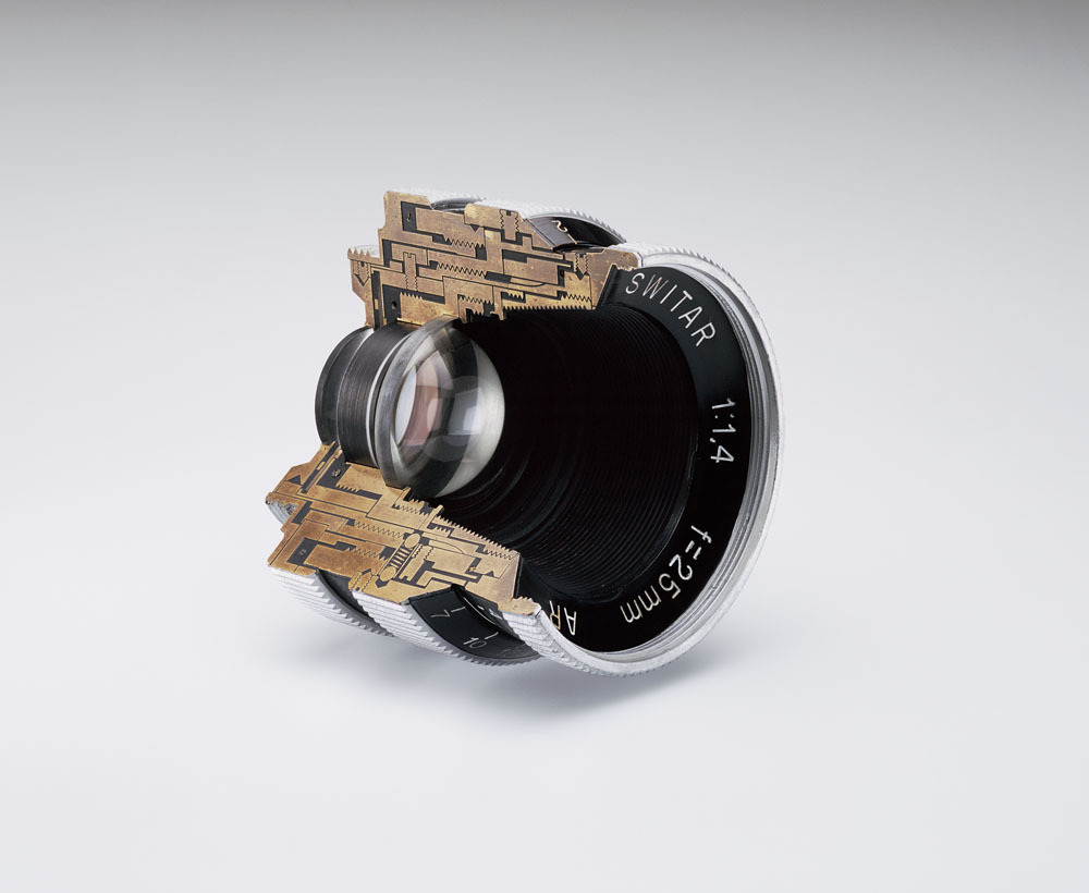 Christopher Williams / Cutaway model Switar 25mm f1.4 AR Glass, wood and brass Douglas M. Parker Studio, Glendale, California November 2007, 2008