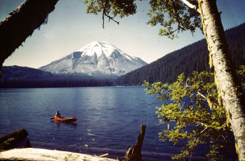 illusionwanderer:  1940's Spirit Lake, with Mt. St. Helens in the background