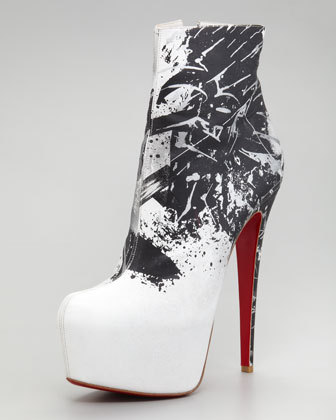 ~3 of my favorite things 1)black 2)white 3)graffitiChristian Louboutin Daf Booty Graffiti Ankle Boot