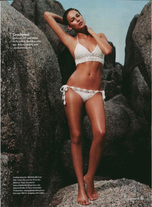 SUMMER!!! In white crochet bikini by Anna Kosturova (as feat. in Cosmo)