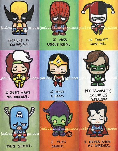 Sad superheroes are sad.