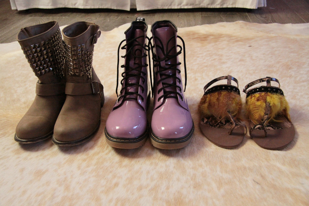 some of the lovely things ive got recently. the brown studded boots i got while i was in milan but the other two pairs were for my birthday that ive wanted for ever and ever :) as for the books, they are the most thoughtful gift ive ever been given. it just goes to show how well he knows me :) i never even said a word and he just knew ^_^ sophie calle is my favourite artist of all time but i didn't really expect anyone to know that, and the other book is something i was eyeing up on our trip to the tate to see the damien hirst show and he must have just remembered :) obviously i can't photograph everything i got but i just thought i'd show off a few little bits that really made me smile :] <3