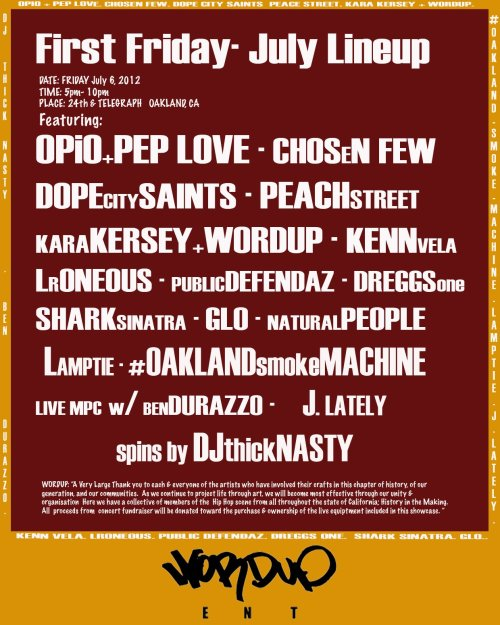 Tonight. Oakland. Free. All ages. Outdoor. Hip-hop. Read the lineup. 'Nuff said.