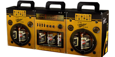 "Miller Boombox Taken from Ads of the World:  ""The idea was to attract attention to and to make Miller the preferred brand among other six packs in the summer when beer consumption spikes. Miller is closely linked with music in Turkey. It has been organizing Miller Music Factory,a contest to discover fresh music talents for six years and Miller Freshtival, a music festival, for two years now. This is why we have chosen music as a theme for our six packs. We havedesigned two sided boxes, one side looks like a speaker and the other is the casette player.This way when three boxes are brought together side by side, they form a boombox.""  There is so much to like about this idea. Not only is the packaging enticing and clever, it actually helped Miller achieve measurable ROI by people buying three at a time to complete the boombox.  Frankly, I'm disappointed with the lack of creativity from the larger beer manufactures; but Miller created something special here.  I would like to see a lot more of this in the future. S"