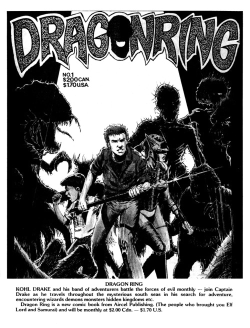 Promotional ad for Dragonring #1 by Barry Blair and Guang Yap, 1986.