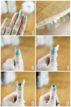 Know-How: Angled tip You will need // Two colors of nail polish, plus a top coat, scissors and scotch tape.  Step 1 // Paint your nails one solid color and let dry completely. It is extremely important that they aren't even remotely tacky.   Step 2 // Rip off ten pieces of scotch tape (one for each nail) and then cut those in half so you have twenty total strips. Step 3 // Apply one strip of tape crossways, make sure to press down firm. Step 4 // Apply a second strip of tape across the opposite way. Step 5 // Paint the tip of your nail, which shouldn't be taped, in the other color.  Step 6 // Peel off tape & wait for it all to dry! Some tips:• Don't try to use packing tape, it won't work and you'll just end up getting mad (experience taught me this one!)• It is a necessity to wait for each coat to dry before adding another, or applying tape!• Peel tape off ASAP,  the quicker the better because even if your base coat is completely dry it still might peel if you leave the tape on too long.• Adding a top coat will blend the two layers so there isn't a step up to the triangle.• If you'd like to do the triangle in lighter color than the base coat then try adding a coat of white to the triangle area first.