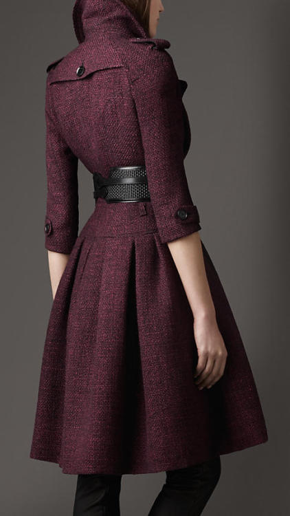 (via Burberry - FULL SKIRTED TWEED COAT)