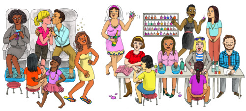 lisahanawalt:  Mani-Pedi Body Language Illustration for Bloomberg Businessweek Thanks to AD Chandra Elise!