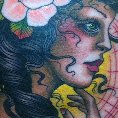Little close up of today's lady :) I had so much fun working on this today!!! I'd love to do more ladies in this style!! Upper outer thigh :) #tattoo #tattoos #gypsy #rose #lady #ladyhead  (Taken with Instagram at Magnum opus)