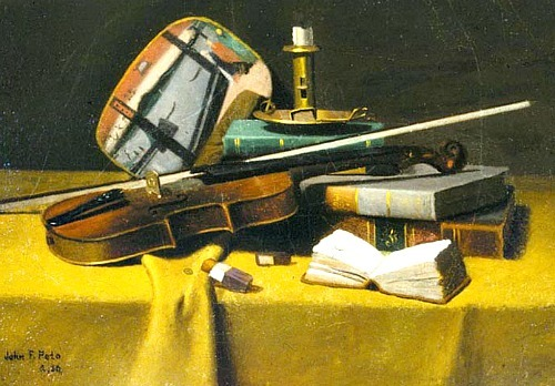 John Frederick Peto Violin, Fan and Books 1880