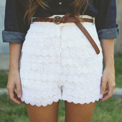 truebluemeandyou:  DIY Urban Outfitters Inspired Lace Shorts Restyle by Sincerely, Kinsey here. Really easy because you aren't making shorts from scratch but rather adding layers of lace.