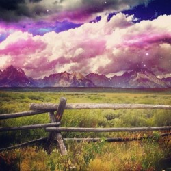 More space mountains #grass #fence #mountains #purple #sly #blue #clouds #yellowstone #park #nature #lightning #jj #eavig  (Taken with Instagram)